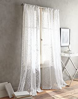 DKNY Halo Burnout Sheer Window Curtain Panel Pair