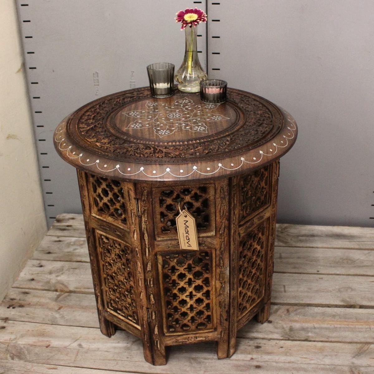 Damodar Large 46cm Side Table Aluminium Inlay Mango Wood