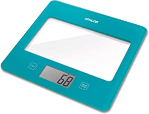 Sencor Ultra Slim Glass Digital Kitchen Scale with LED Display, Small, Turquoise