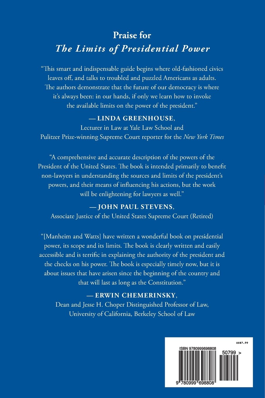 The Limits of Presidential Power: A Citizen's Guide to the Law: Lisa  Manheim, Kathryn Watts: 9780999698808: Amazon.com: Books