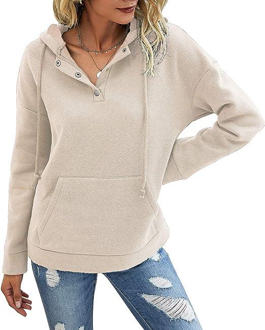 PRETTYGARDEN Women/'s Casual Long Sleeve Lapel Zipper Sweatshirt Drawstring Loose Pullover Tops With Pockets