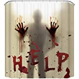 CHICHIC 71 Inch x 71 Inch Halloween Shower Curtain Liner Window Curtains, Help Me with Bloody Hands for Halloween Decorations