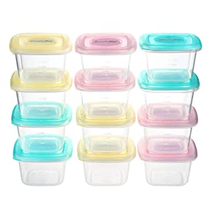 PandaEar Baby Food Snack Plastic Storage Container with Lids, 12 Pack Set BPA Free Freezer & Dishwasher Safe for Kids