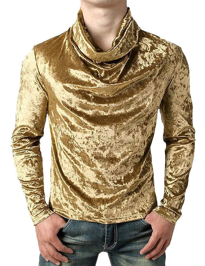 Joe Wenko Mens Cowl Neck Slim Fit Velour Top Casual Tee T-Shirts