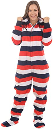 552a2ae4f Adult Onesie with Butt Flap Red White Blue Stripes Footed Pajamas ...