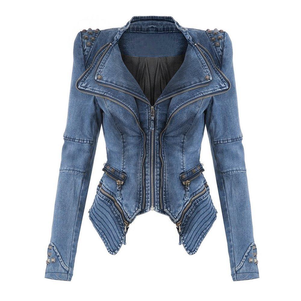 Meedot Womens Denim Jacket Zip Up Coat Biker Jacket Punk Coat Shoulder Pad Blazer Cardigan Short Jackets Rivet Jeans Jacket Transition Rivet Outwear Jackets Black Green Blue S - XXL T171219WJ1-N