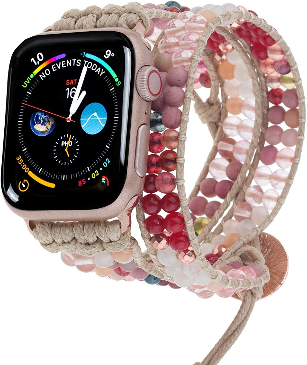 PLTGOOD 3 Wrap Watch Band Beads Bracelet Compatible with Apple 38mm/40mm, 42mm/44mm for Women Men, Replacement Watch Strap for Apple Iwatch SE Series 6/5/4/3/2/1