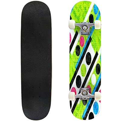Classic Concave Skateboard Beautiful Bright Colored Circles and Polygons Geometric Psychedelic Longboard Maple Deck Extreme Sports and Outdoors Double Kick Trick for Beginners and Professionals : Sports & Outdoors