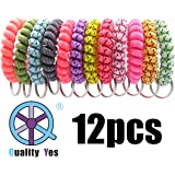 QY 12PCS New Version Bright Colorful Black Dot Pattern Cloth Plastic Spiral Coil Wrist Band Key Ring Chain