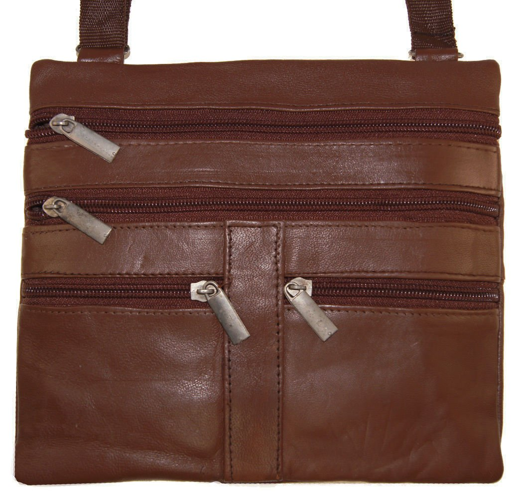 Light Brown Ladies Genuine Leather Cross Body Bag Satchel Messenger Bag 48'' Strap by Wallet (Image #2)