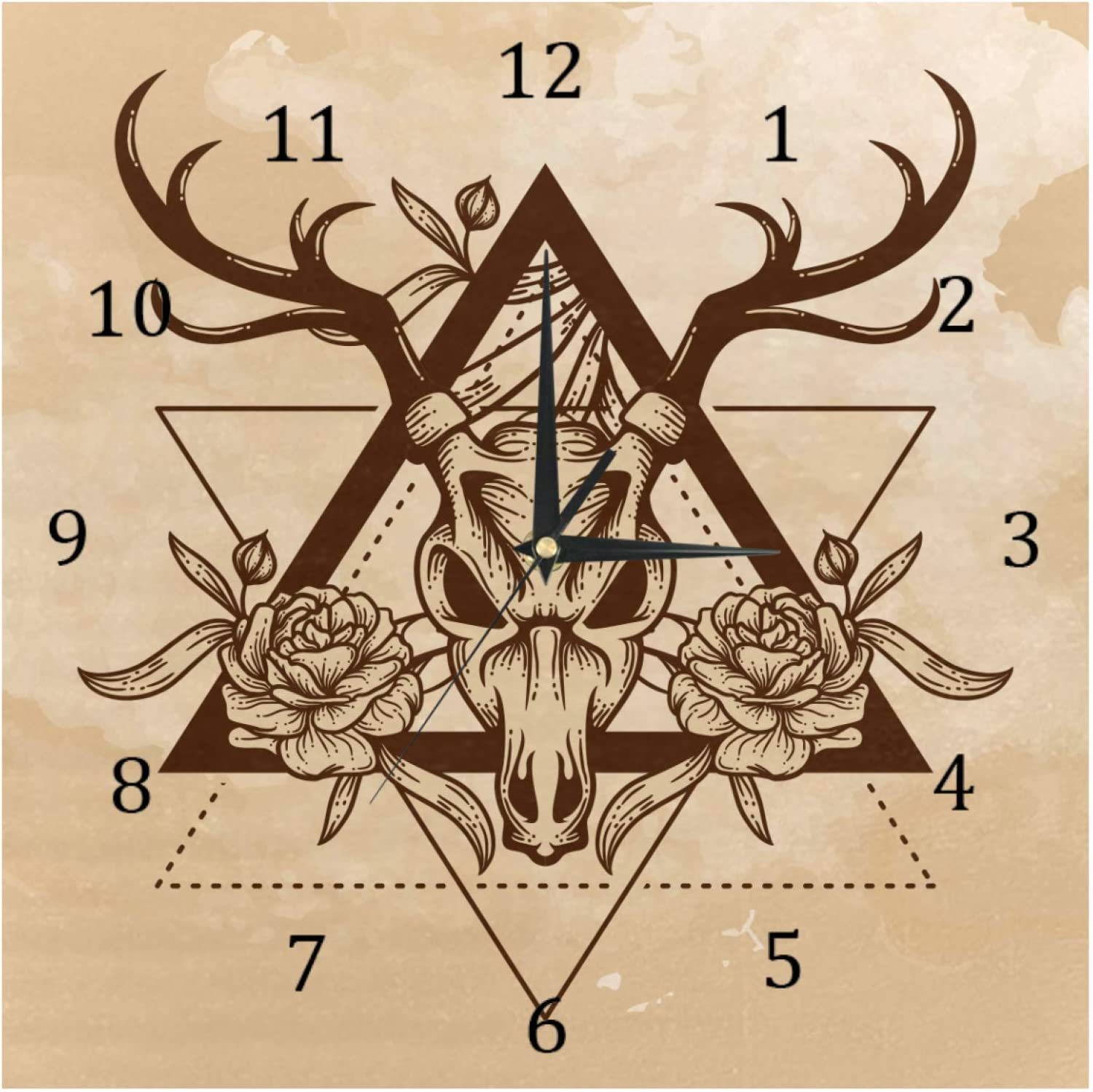 AISSO Wall Clocks Vintage Old Deer Skull Battery Operated Number Clock for Bedroom Living Kitchen Office Home Decor Silent & Non-Ticking