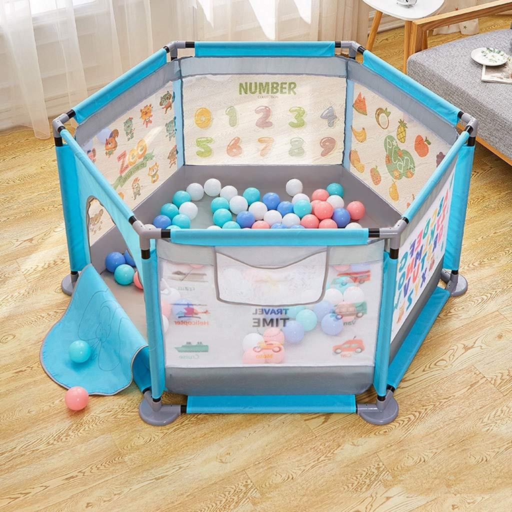 JSSFQK 子供の遊びのフェンス屋内の家庭の赤ちゃんの散弾耐性フェンスの幼児の安全クロールマットの幼児保護フェンス 保護フェンス (色 : 青)  青 B07MT8SRSY