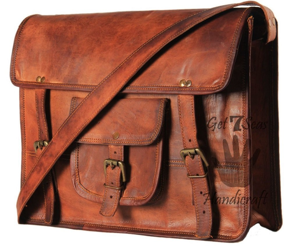 Leather Vintage Crossbody Messenger Courier Satchel Bag Gift Men Women ~ Business Work Briefcase Carry Laptop Computer Book Handmade Rugged & Distressed ~ Everyday Office College School (11 x 15) by ULS BAG (Image #1)