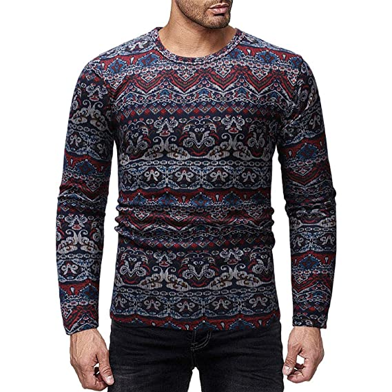 Suéteres de otoño e Invierno para Hombre, Estilo étnico, Estampado en Color de Graffiti, Camiseta Manga Larga de Internet: Amazon.es: Ropa y accesorios