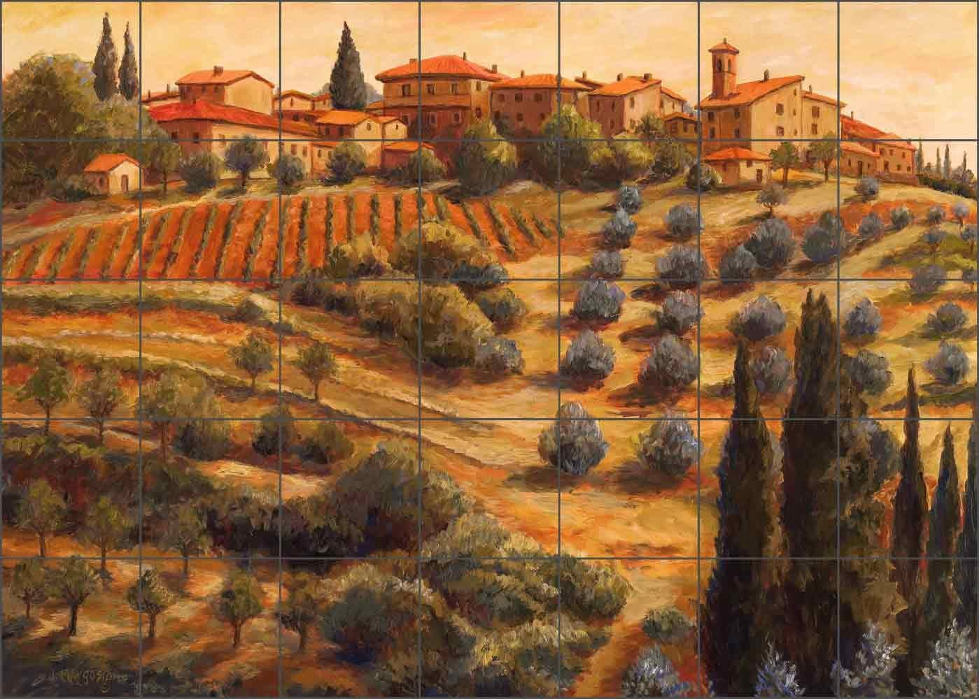 - Tuscan Tile Mural Backsplash - Chianti Sunset By Joanne Morris