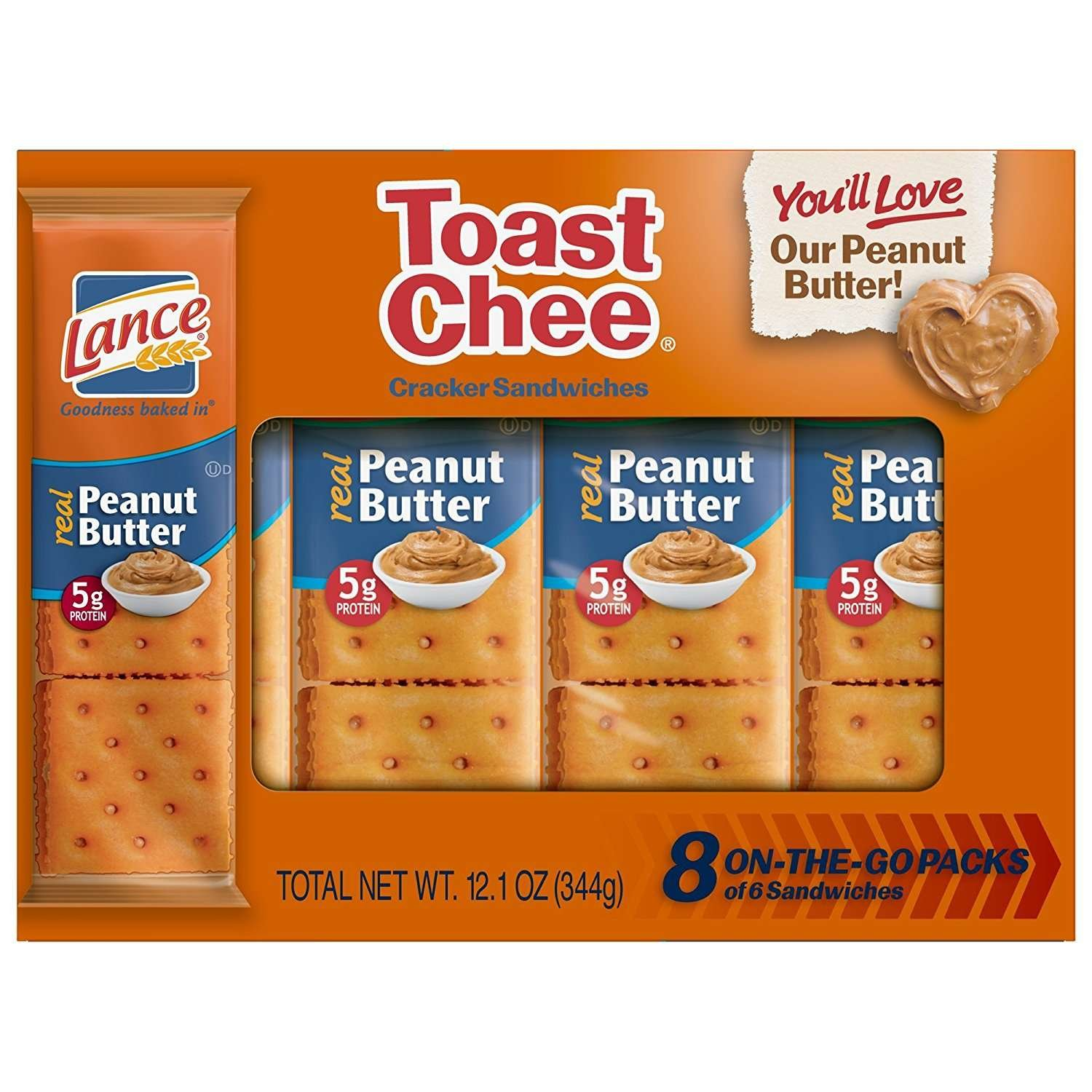 Lance Whole Grain Sandwich Crackers with Peanut Butter, 8 Count (Pack of 14) Snyders of Hanover 106949