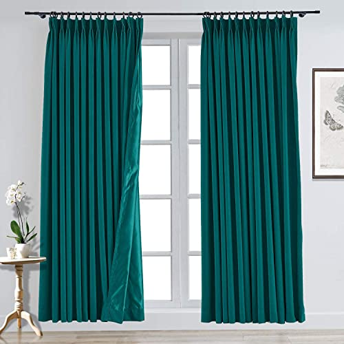 TWOPAGES Solid Blackout Pinch Pleat Curtains Room Darkening