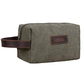 Amazon.com   S-ZONE Canvas Travel Toiletry Bag Shaving Dopp Kit Cosmetic Makeup  Bag (Black)   Beauty a4db8f91a31bf