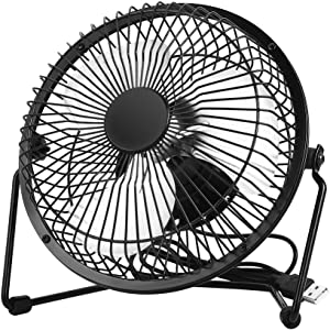 EasyAcc Office Quiet Desk Fan, USB Powered Only, 360 Degree Rotation, Perfect Personal Fan, Mini Metal Cooling Fan for Dorm Office Table - 5V 6 inch Enhance Airflow Floor Fans - Black
