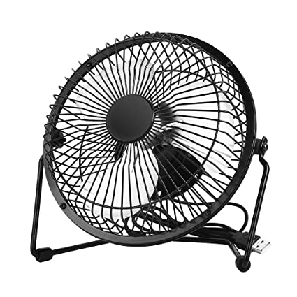 EasyAcc Office Quiet Desk Fan, USB Powered Only, 360 Degree Rotation,  Perfect Personal Fan, Mini Metal Cooling Fan for Dorm Office Table - 5V 6  inch