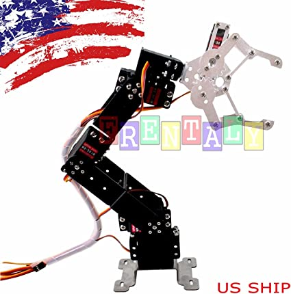 Fully Assembled 6 Axis Mechanical Robotic Arm Clamp Metal digital servo motor