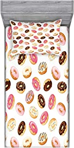Ambesonne Food Fitted Sheet & Pillow Sham Set, American Traditional Classic Breakfast Fast Food Dessert Tasty Donuts Art Print, Decorative Printed 2 Piece Bedding Decor Set, Twin, Coral Cream
