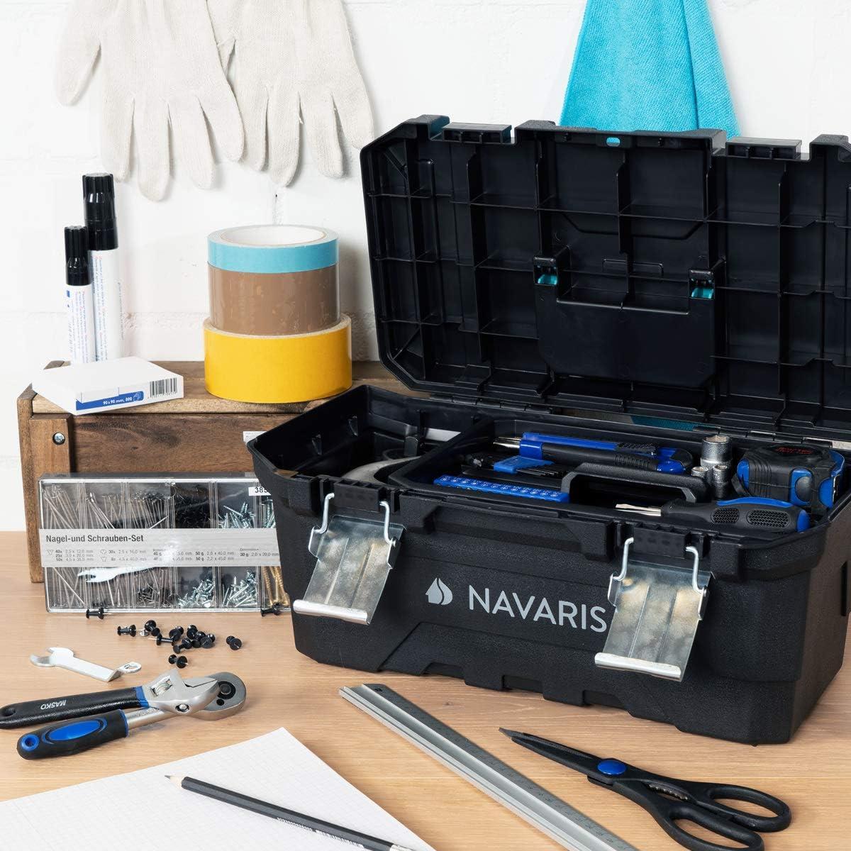 Bo/îte Rangement Outillage 40 cm en Plastique avec Poign/ée Solide et 2x Verrou en Acier Caisse de Capacit/é 15L Navaris Bo/îte /à Outils Vide