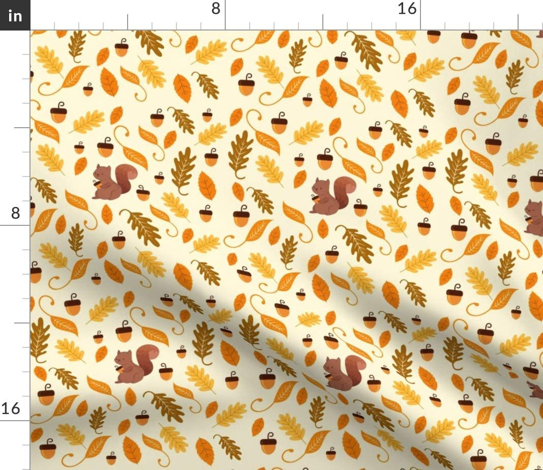 Autumn Fall Cotton Sateen Circle Tablecloth by Spoonflower Grey And Cream Leaves by andrea/_lauren Acorns And Leaves Round Tablecloth