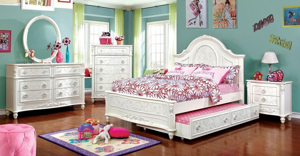 Northington Floral Girls 5 Piece Full Bed, 1 Nightstand, Dresser, Mirror, Trundle - White Wood