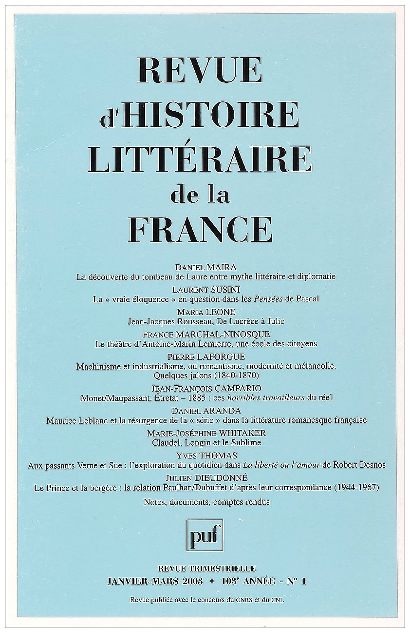 Read Online Revue d'histoire litteraire de la France 2003 n 1 (French edition) pdf
