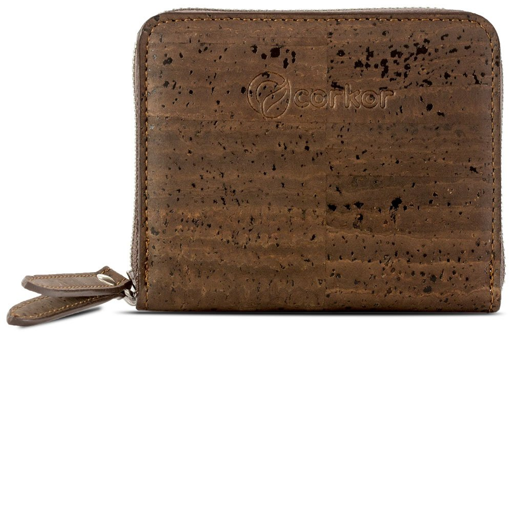 Corkor Small Wallet Women RFID Blocking Cards Coin Pocket Vegan Gift Cork Clutch Brown Color