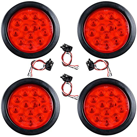 Led Brake Lights >> 4pcs Red Round 4 12 Led Brake Stop Tail Light For Cargo Semi Trailer Container Tractor Truck Bus Lorries