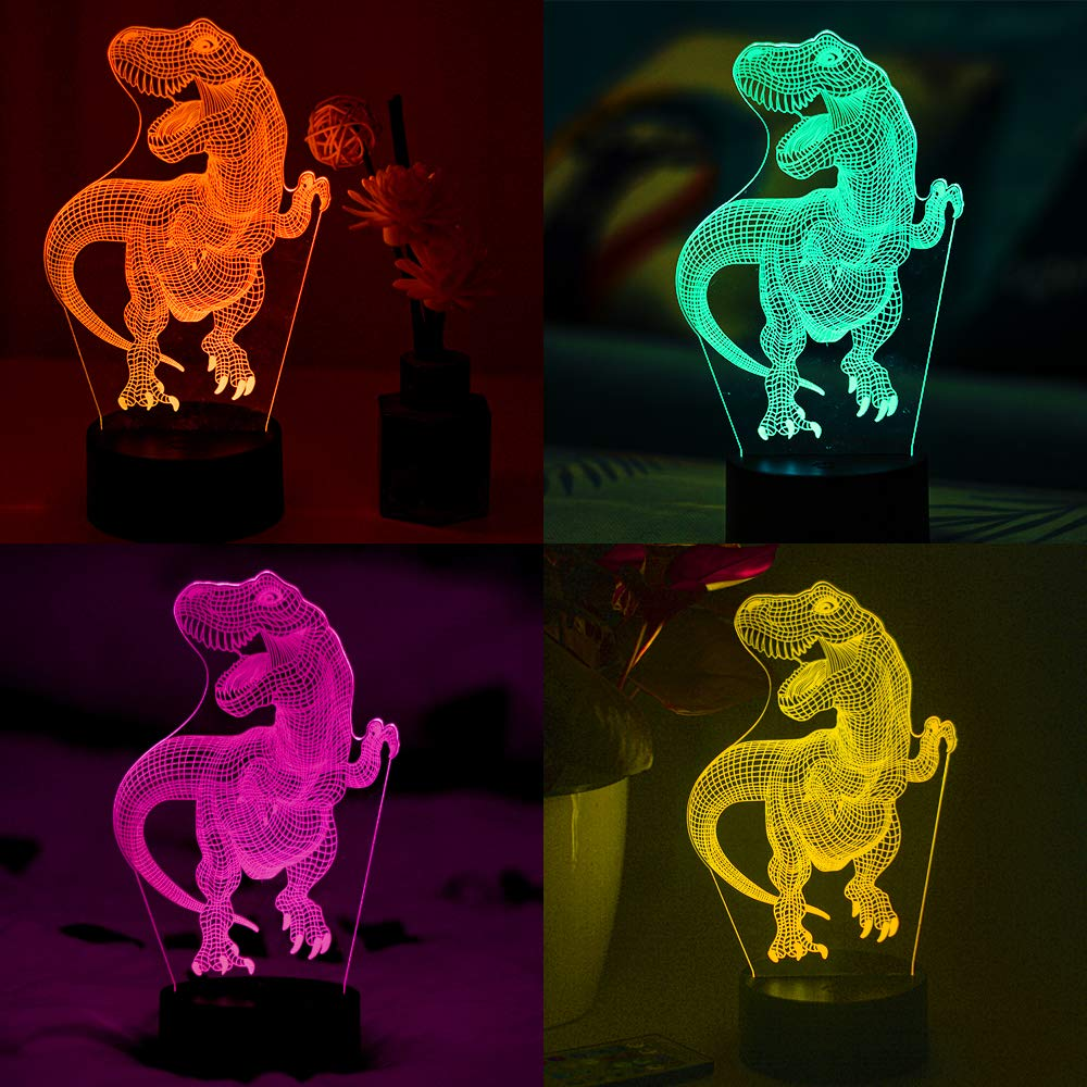 Lampada da Notte a LED 3D Jeudy per Le Decorazioni delle camere da Letto delle Ragazze dei Ragazzi Lampada 7 Colori Che cambiano con Telecomando I Migliori Regali di Compleanno