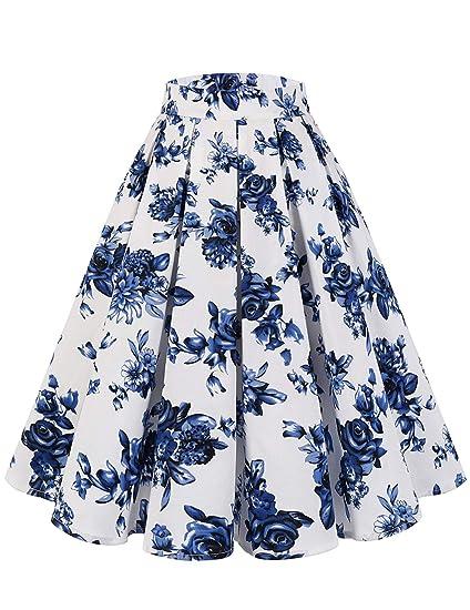 DRESSTELLS - Falda de algodón para Mujer, diseño de líneas A Color ...