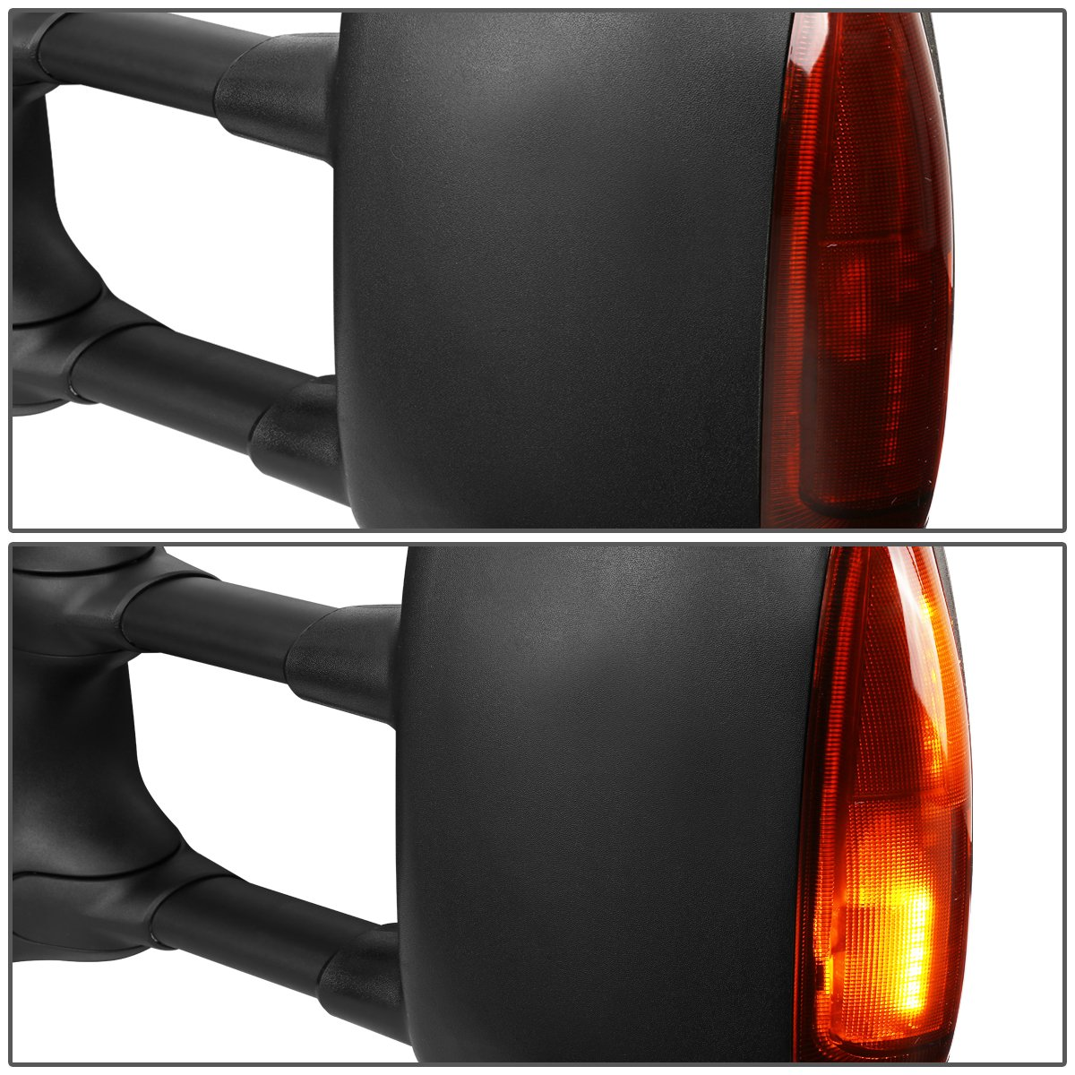 Right//Passenger For Ford Super Duty Powered+Heated+Amber LED Turn Signal Towing Mirror