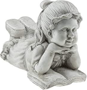 Girl with Book Resin Garden Statue | Outdoor Indoor Figurine Gift Decoration for Home Décor, Patio, Yard, and Garden