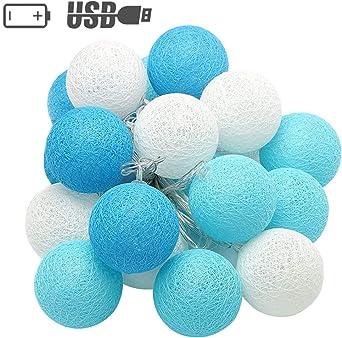 XIYUNTE Bola de algodón Guirnaldas luminosas - 9.8FT / 20LED blanco y azul bola de algodón (φ4cm) Iluminación de Navidad de interior, Luces hadas decor de interior para Navidad: Amazon.es: Iluminación