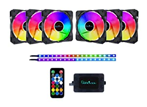 Apevia FB6P2-RGB Frostblade 120mm Silent Addressable RGB Color Changing LED Fan with Remote Control, 16x LEDs & 8X Anti-Vibration Rubber Pads w/ 2 Magnetic Addressable LED Strips (6+2-pk)
