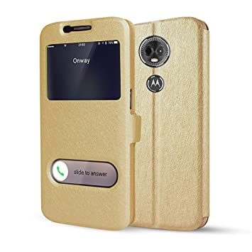 HDRUN Slim Fit Funda [Ventana View] Carcasa con Funcion Soporte Cierre Magnético Case para Motorola Moto E5 (5.7