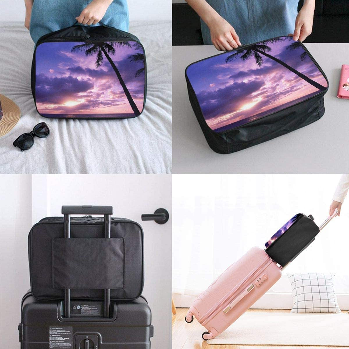 Travel Bags Palm Tree At Sunset Portable Foldable Trolley Handle Luggage Bag