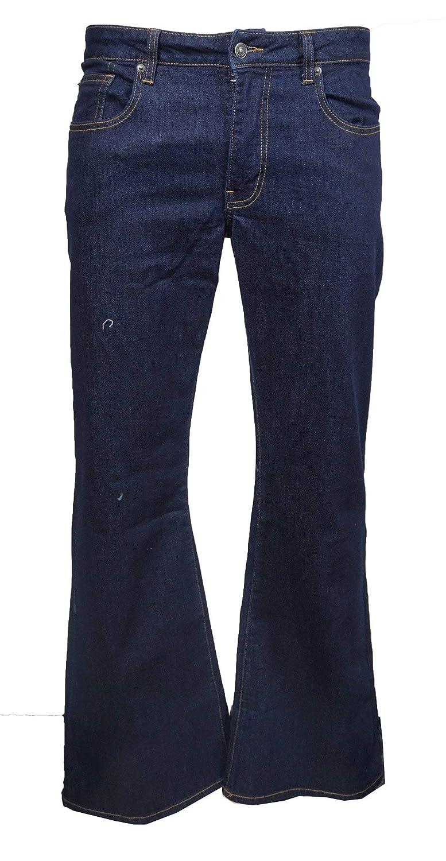 LCJ Denim Mens Super Flare Jeans Stretch Indigo Indie 70s Bell Bottoms