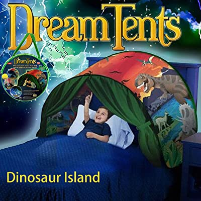 Dream Tents Dinosaur Island for Kids Fun Pop Up Play Tent Foldable Bed Tent Magical Secret Castle Playhouse Birthday for Kids: Toys & Games