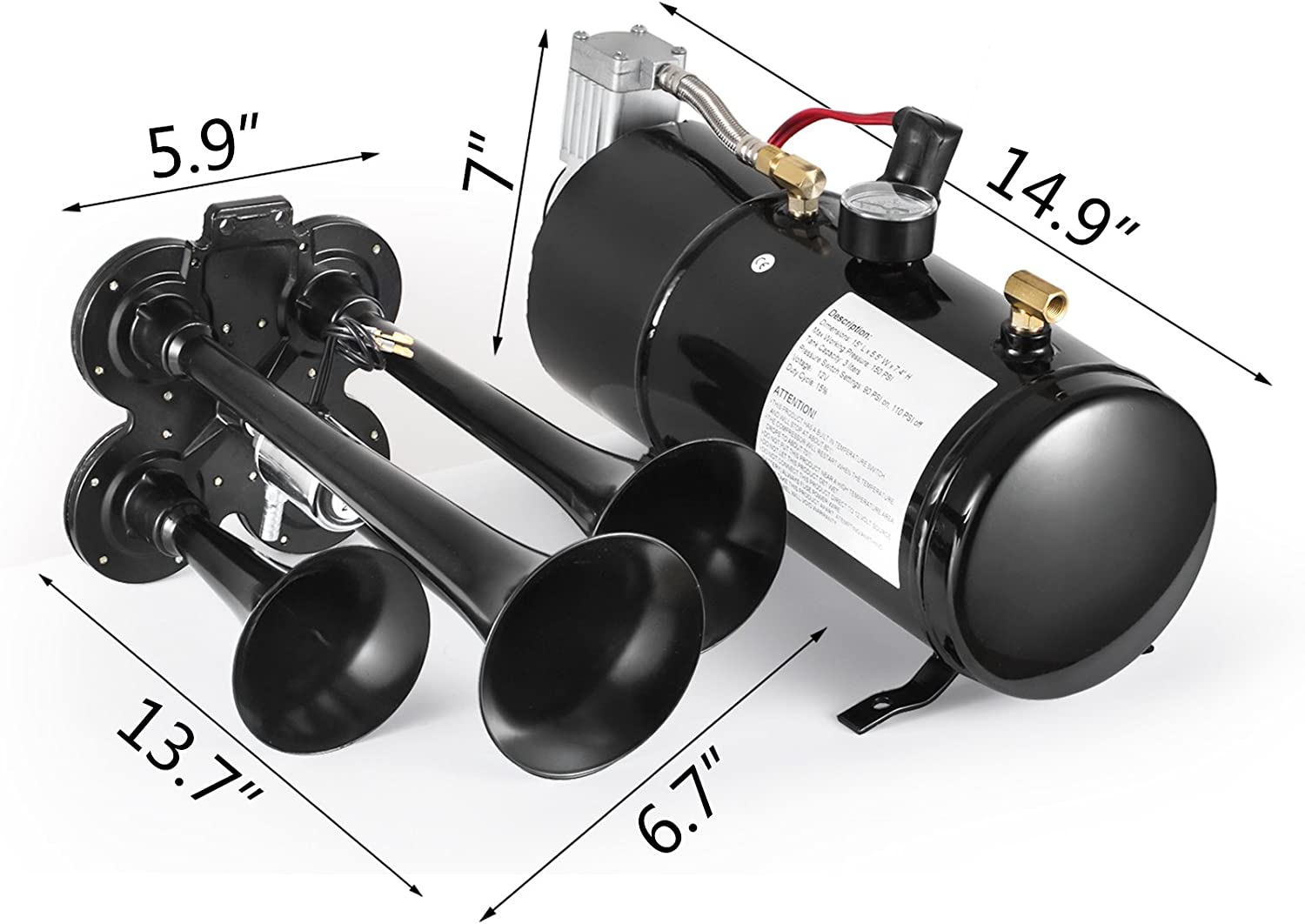 SHZOND Train Horn Kit 4 Trumpet Super Loud Air Horn Compressor Kit with 150 PSI Compressor and 0.8 Gallon Air Tank for Truck Boat or SUV Train Horn kit