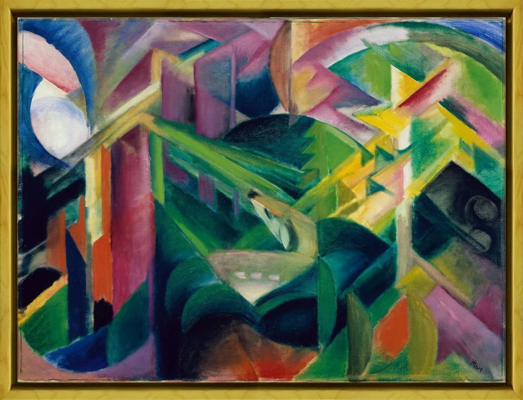 Berkin Arts Framed Franz Marc Giclee Canvas Print Paintings Poster Reproduction (Deer in a Monastery Garden)