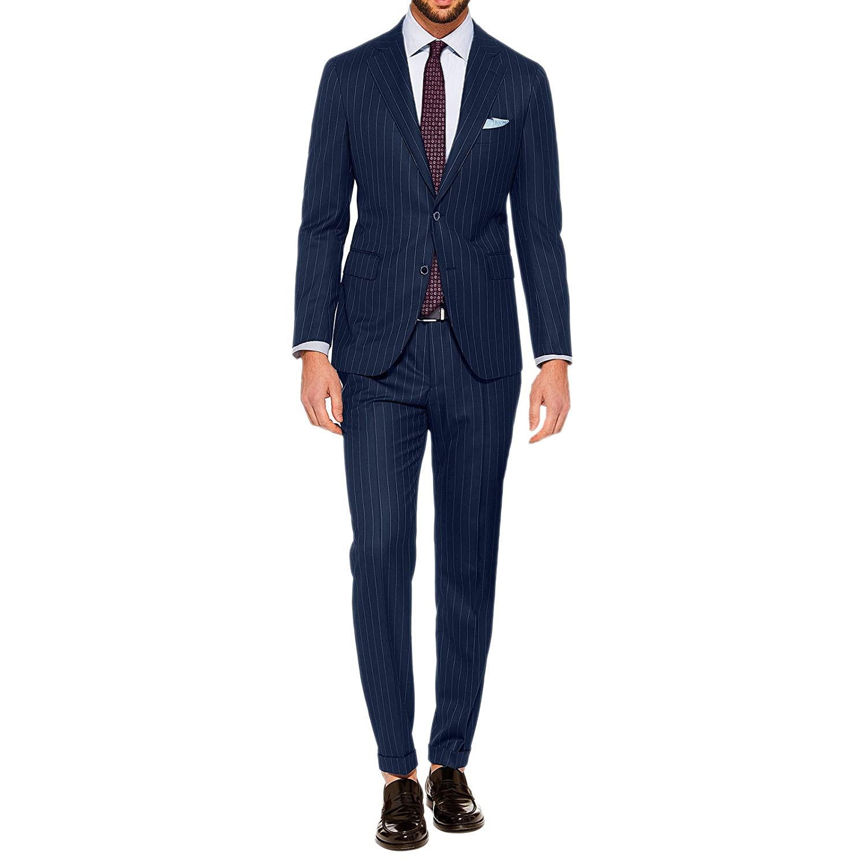 Abito Uomo Gessato Elegante Cerimonia Slim Fit Vestito Sartoriale Completo Blu