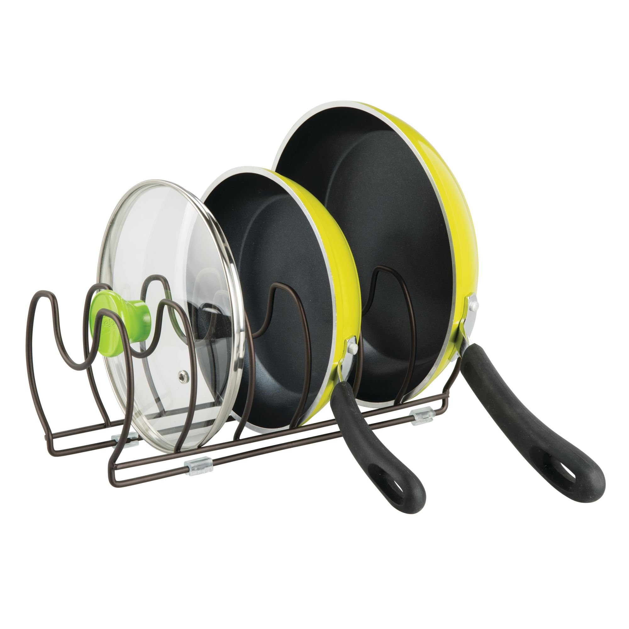 mDesign Pot and Pan Organizer Rack for Kitchen Cabinet, Pantry and Shelves - Organizer Holder with Six Slots for Skillets, Frying Pans, Lids, Vertical or Horizontal Placement - Steel Wire, Bronze