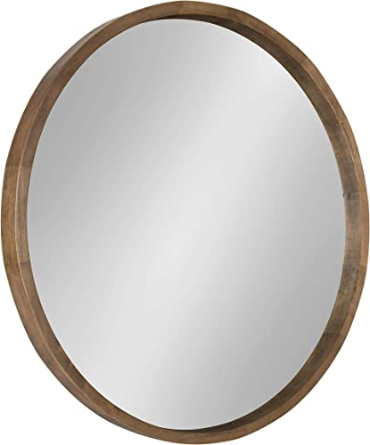 Kate and Laurel Hutton Round Decorative Wood Frame Wall Mirror