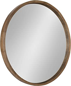 Amazon Com Kate And Laurel Hutton Round Decorative Wood Frame Wall Mirror 30 Inch Diameter Natural Rustic Home Kitchen