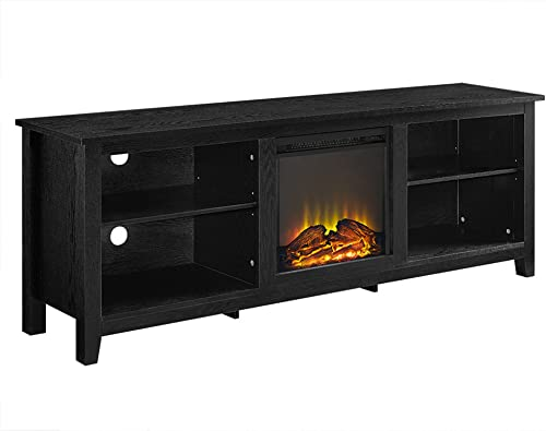 FurnitureMaxx Sthomy 70 Black Wood Fireplace TV Stand
