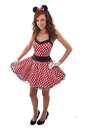Señoras disfraz de Minnie Mouse Vestido de fiesta con diadema ...
